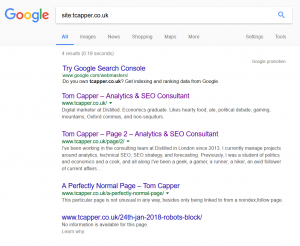 "Site search for tcapper.co.uk, showing the homepage, a paginated page that shouldn't be there, and the ""perfectly normal page"" linked to from the test page"